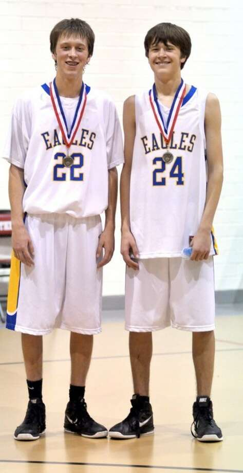 Braden Landtroop (22) was named all-tournament while his brother Kenneth (24) made the all-tournament team after leading Plainview Christian to first place at last weekend's Whitharral Tournament. The Eagles beat Seagraves in the title game 54-51. The Eagles (8-1) and Lady Eagles host Silverton on Tuesday.
