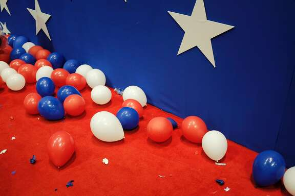 Balloons and confetti are strewn on the floor of the Republican National Convention after the closing of the penultimate night of the event at Quicken Loans Arena in Cleveland, Ohio, July 21, 2016. / AFP PHOTO / DOMINICK REUTERDOMINICK REUTER/AFP/Getty Images