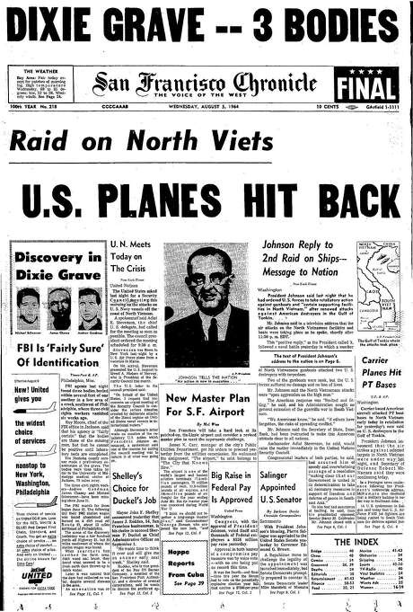 The Chronicle's front page from Aug. 5, 1964, covers Vietnam aerial raids and the slayings of civil rights workers in the South. Photo: The Chronicle 1964