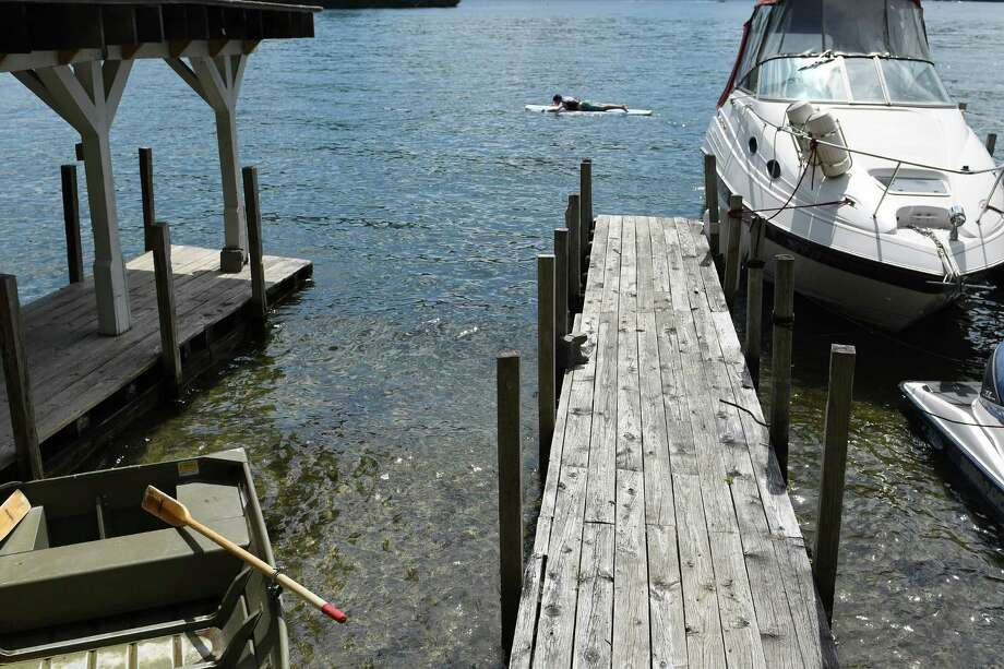 A view of the empty boat slip at Tea Island Resort where a boat involved in an accident Monday night was abandoned later in the eveing, seen here on Tuesday, July 26, 2016, in Lake George, N.Y.  (Paul Buckowski / Times Union) Photo: PAUL BUCKOWSKI / 20037439A