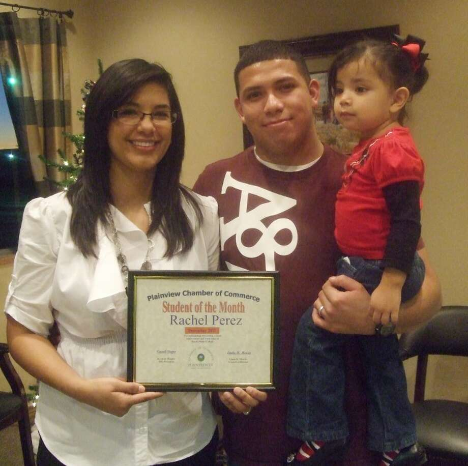 Rachel Perez, a freshman at South Plains College and daughter of Jose and Mary Porras, is the Plainview Chamber of Commerce Student of the Month. Perez is a Plainview High School graduate and enrolled in the License Vocational Nursing Program. She is an active member of Sacred Heart Catholic Church. Perez plans to work as a nurse in the neonatal unit. She and her husband, Mario Perez, are parents of a daughter. Photo: Jessica Thornton/Plainview Herald