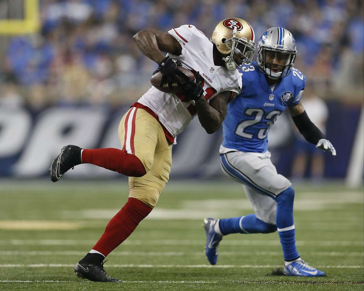 FILE - In this Dec. 27, 2015 file photo, San Francisco 49ers wide receiver Anquan Boldin (81) makes a catch against Detroit Lions cornerback Darius Slay (23) during the first half of an NFL football game, in Detroit. The 35-year-old wide receiver showed he still has plenty left, catching 69 passes for 789 yards and four touchdowns last season for a bad 49ers offense. (AP Photo/Duane Burleson, File)