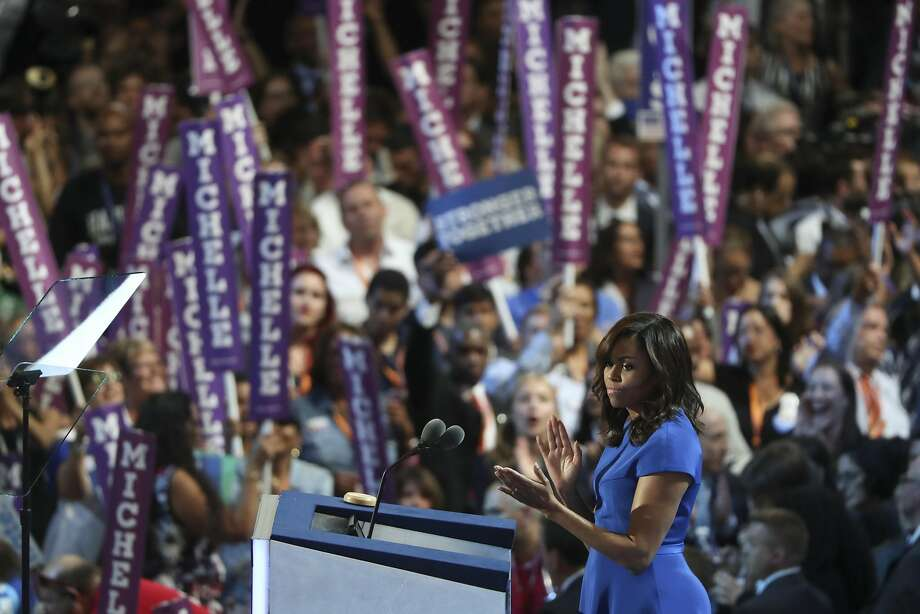 In her prime-time address to the Democratic convention Monday, first lady Michelle Obama cited a little-discussed fact that dramatized her own African American family's place in history. Photo: STEPHEN CROWLEY, NYT