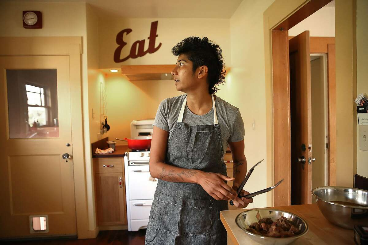 Juhu Beach Club chef Preeti Mistry gets ready to cook her lamb in her kitchen at home in Oakland, California on thursday, april 14, 2016.