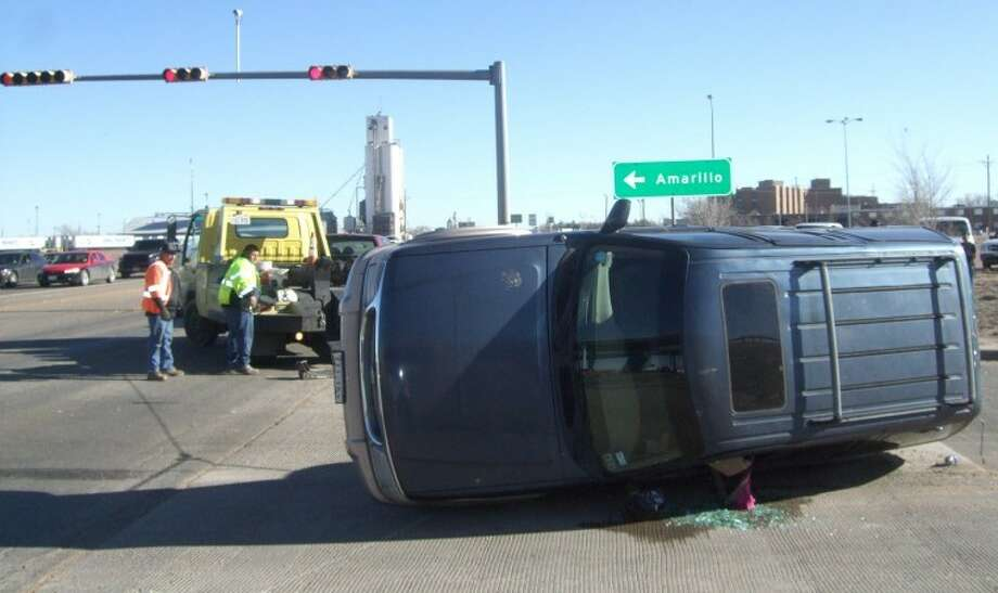 The driver of this Ford Explorer was taken by ambulance to Covenant Hospital Plainview with what was believed to be minor injuries during a three-vehicle accident Thursday afternoon at the intersection of I-27 and Dimmitt Highway. According to the driver of one vehicle involved in the wreck, the Explorer was southbound on the I-27 east access road when it was hit by an eastbound Ford pickup. The collision caused the Explorer to spin into a northbound Dodge pickup. Only the driver of the Explorer was believed to have suffered anything more than minor injuries. No other information was available at press time.