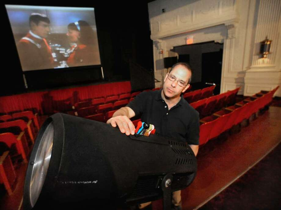 Michael Hauck, Technical Director of the Connecticut Film Festival preparing one of the screening venues, The Palace Theater, in Danbury, in 2009. Photo: Michael Duffy / The News-Times