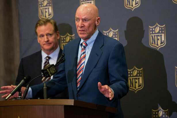 Houston Texans owner Bob McNair speaks during a news conference during the NFL owners meetings on Tuesday, Jan. 12, 2016, in Houston. The NFL owners formally approved the relocation of the St. Louis Rams to Los Angeles. The San Diego Chargers have the option to join them. The final vote passed by a 30-2 margin.( Brett Coomer / Houston Chronicle )