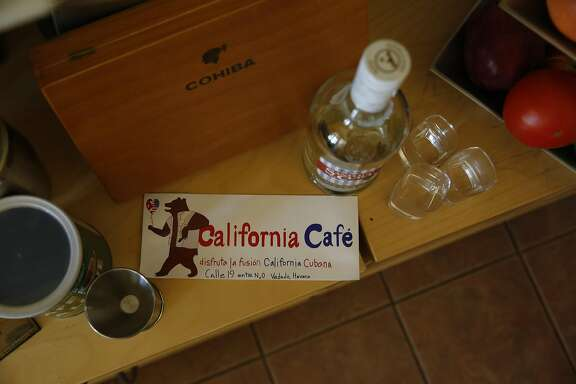 A bumper sticker for California Cafe, owned by Shona Baum and Paver Core Broche (both not shown), is seen on Tuesday, July 26, 2016 in San Francisco, California.