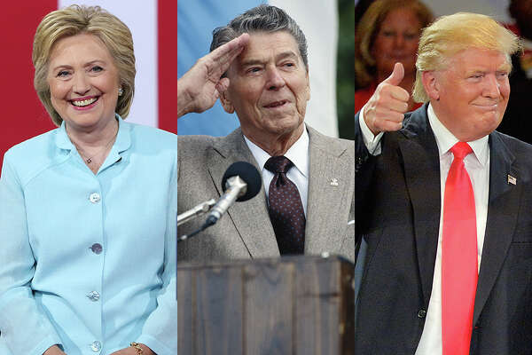 Ronald Reagan (center) was the oldest president ever elected U.S. President, at age 69 years and 349 days at inauguration. If Donald Trump, 70, is elected, he would become the oldest president ever elected. Hillary Clinton, who turns 69 in October 2016, would be the second oldest president ever elected were she to win in November.
