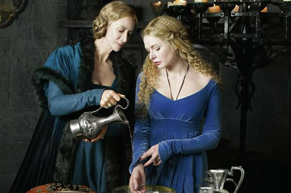 This publicity image released by Starz shows Janet McTeer, left, and Rebecca Ferguson in