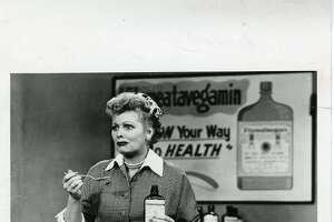 "I LOVE LUCY -  Lucille Ball, as Lucy Ricardo, makes a face while tasting the Vitameatavegamin vitamins for her live commercial on the episode, ""Lucy Does a TV Commercial."" Original airdate: May 5, 1952."