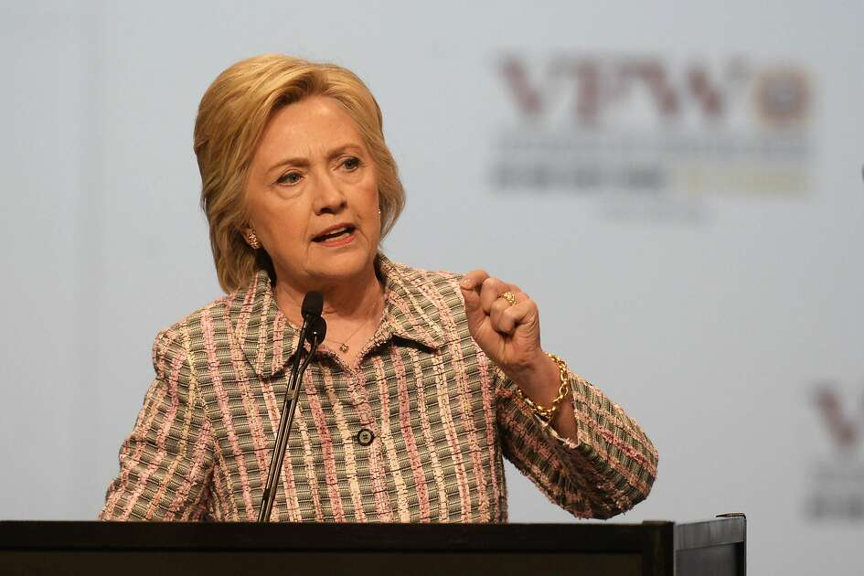 Hillary Clinton, the presumptive Democratic presidential nominee, addresses the 117th annual VFW National Convention at the Charlotte Convention center on Monday, July 25, 2016 in Charlotte, N.C. (David T. Foster III/Charlotte Observer/TNS)