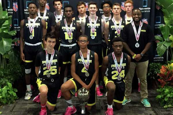 The Fairfield-based Premier Hoops Development 16U travel basketball team placed second in the recent AAU Division 2 national championship in Orlando, Fla. Premier Hoops beat the defending champions Atticus Wolfpack (Ky,) 65-55 in the Elite 8 and the North Carolina Blazers 61-43 in the semifinals before losing to Central Florida Elite 50-47 in the championship game. Players are from Bridgeport, Fairfield and Monroe. Front row, from left, Francisco Guillen, Charles Clemons IV and Qualon Wilkes; middle row, from left, TJ Pettway, Woodley Monnexant, Sean Conway, Chris Hulbert and coach Orlando Daniel; back row, from left, Jaelin Gallimore, Greg Lawrence, Malcolm Brune, Nore Davis and Will Santee.