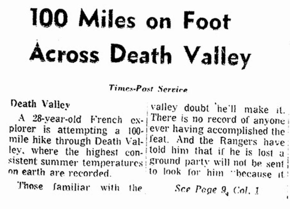 This front-page story was the first San Francisco Chronicle coverage of Marquant's daring Death Valley quest.