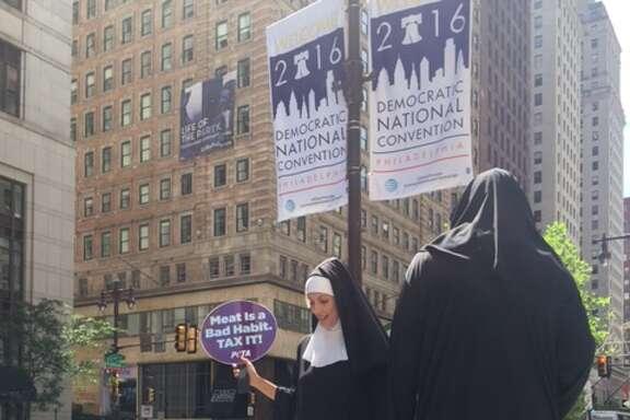 Demonstrators make a point in Philadelphia