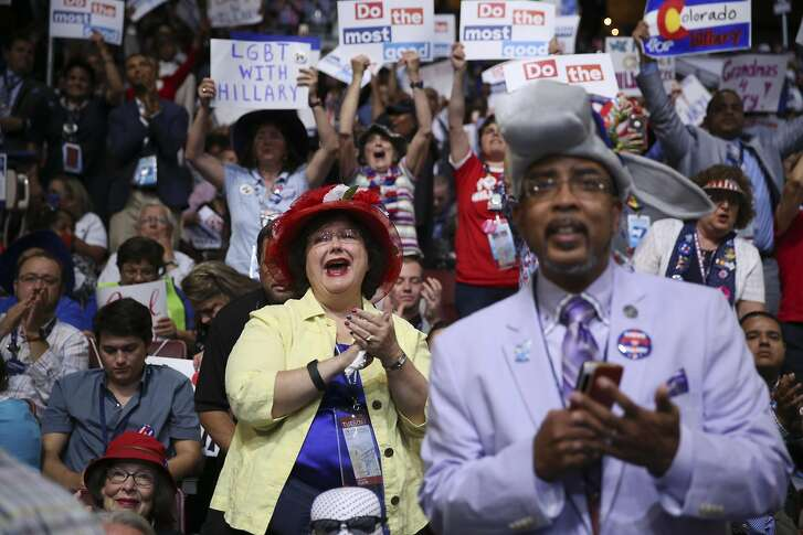 Delegates during the roll call vote on the second day of the Democratic National Convention at the Wells Fargo Center in Philadelphia, July 26, 2016. (Damon Winter/The New York Times)