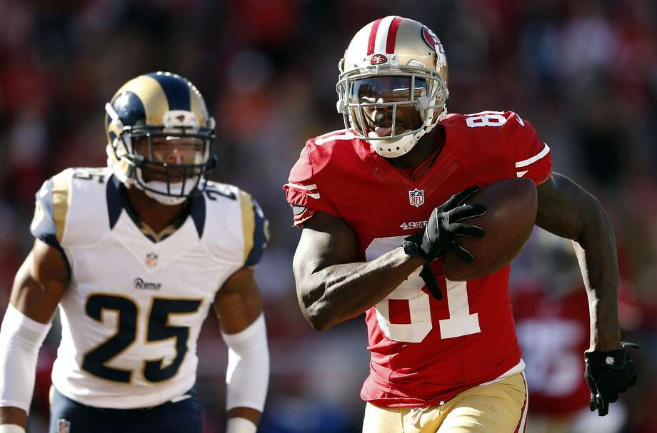After three years with the 49ers, Anquan Boldin is reportedly finalizing a one-year deal with the Lions. He led San Francisco in receptions and yards each of his seasons with the team. Photo: Scott Strazzante, The Chronicle