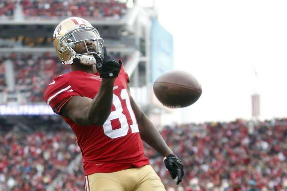 San Francisco 49ers' Anquan Boldin scores 2nd quarter touchdown against St. Louis Rams during NFL game at Levi's Stadium in Santa Clara, Calif., on Sunday, January 3, 2016.