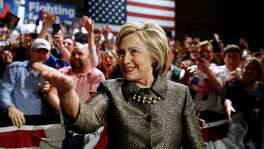 Democratic presidential candidate Hillary Clinton, here at a campaign event in April in Philadelphia, moves to the stage at her presidential primary election night rally in the same town this week.