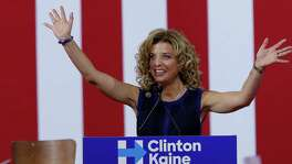 DNC Chairwoman, Debbie Wasserman Schultz on July 23 speaks during a campaign event for Democratic presidential candidate Hillary Clinton during a rally at Florida International University Panther Arena in Miami. Wasserman Schultz has announced she would step down as DNC chairwoman at the end of the party's convention, after some of the 19,000 emails, presumably stolen from the DNC by hackers, were posted to the website Wikileaks.