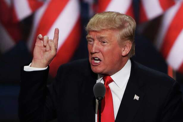 Republican presidential candidate Donald Trump delivers a speech during the evening session on the fourth day of the Republican National Convention on July 21 in Cleveland, Ohio. The convention largely ignored religion, an opportunity for Democrats this week.