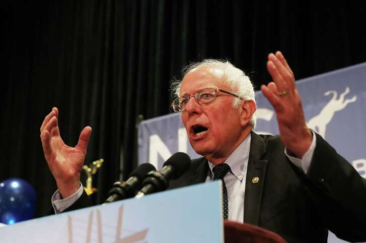 Sen. Bernie Sanders on Tuesday addresses the New York delegation at the Democratic National Convention in Philadelphia.