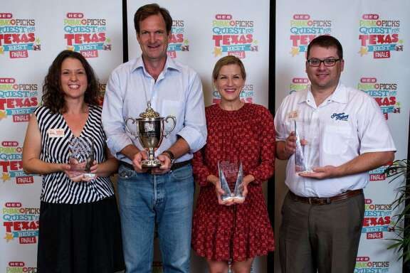 The H-E-B Primo Picks Quest for Texas Best is a competition for Texas specialty food purveyors to get their goods on H-E-B shelves. Shown are 2015 winners, left to right: Angela Rowley of Blackbird Foods of Houston (second place); Matthew Lee of TEO Gelato in Austin (grand prize); Karen Morgan of Blackbird Bakery in Austin (third place); and Chad Wilson of Slaton Bakery in Slaton (first place).