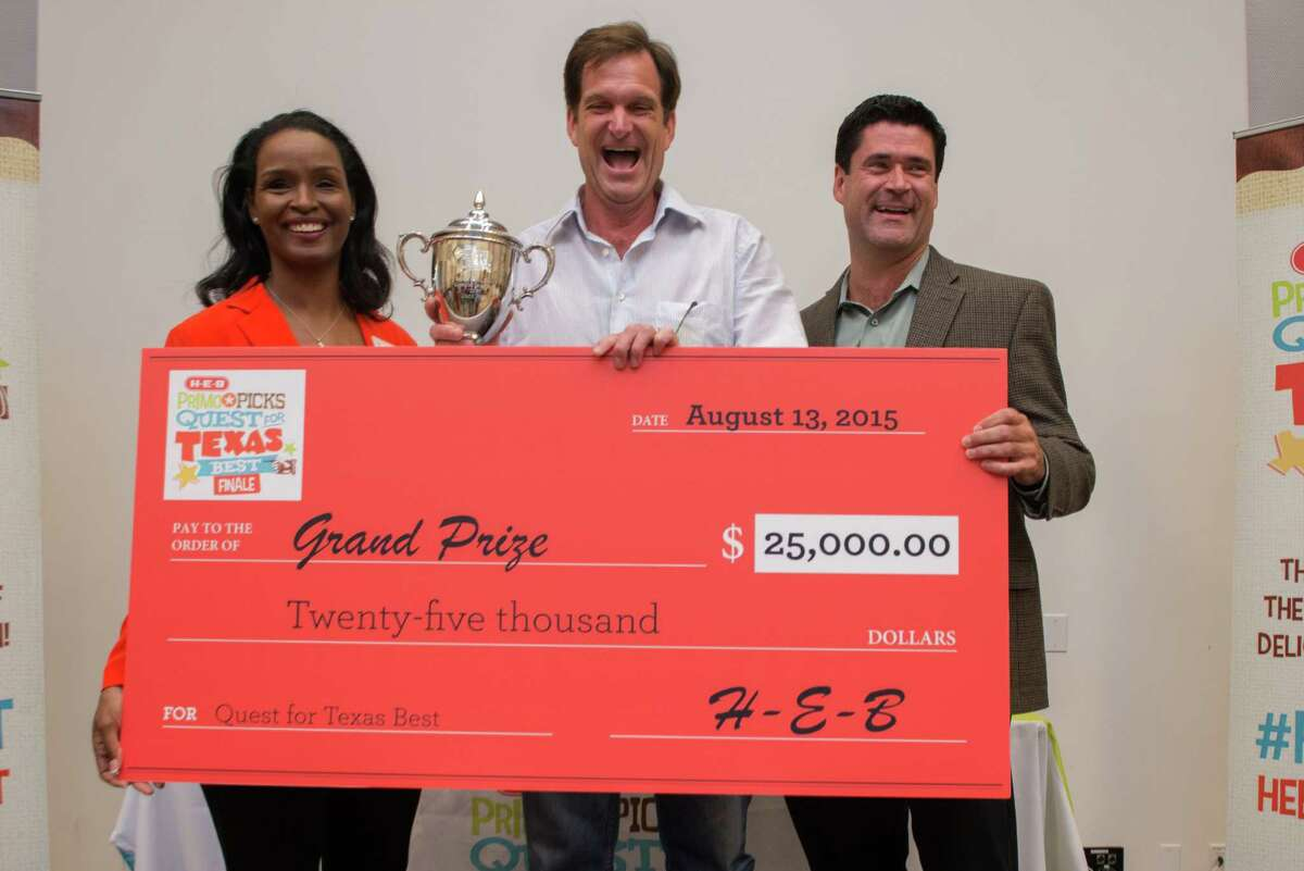 The H-E-B Primo Picks Quest for Texas Best is a competition for Texas specialty food purveyors to get their goods on H-E-B shelves. At the 2015 competition Matthew Lee of TEO Gelato of Austin won grand prize and $25,000. Shown: Left to right Winell Herron, H-E-B group vice president public affairs, diversity and environmental affairs; Matthew Lee of TEO Gelato; and Reade Aherns, H-E-B group vice president of grocery procurement and merchandising.