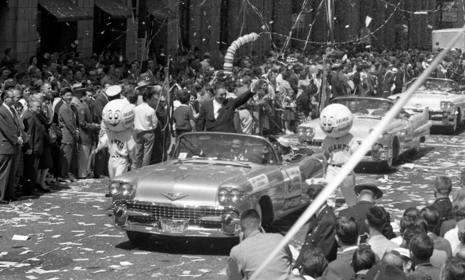 On April 14, 1958, Mayor George Christopher on Market Street during the San Francisco Giants welcome parade. Photo: Joe Rosenthal, The Chronicle