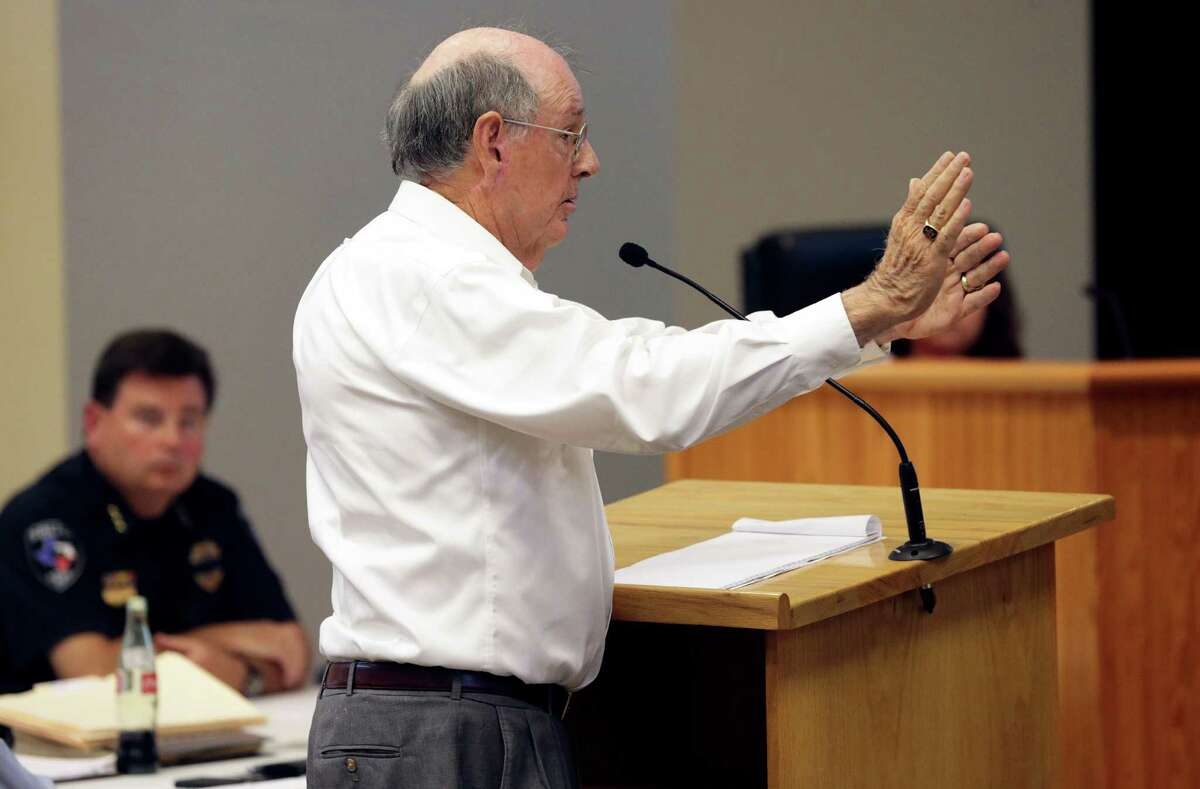 Longtime Guadalupe County property owner Don Dixon gestures his opposition to the project as Cibolo City Council listens to a public meeting on July 26 to consider input on the proposed seven-mile toll road from the city to Interstate 10.