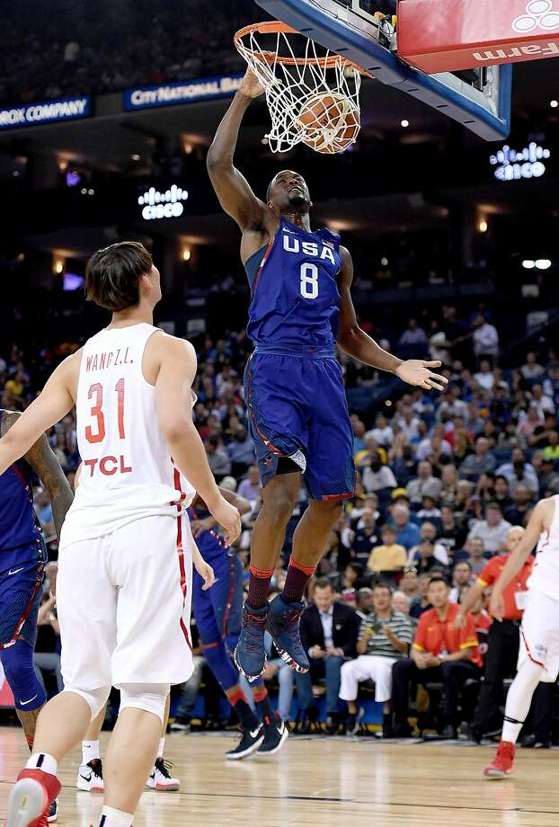 OAKLAND, CA - JULY 26:  Harrison Barnes #8 of the United States Men's National Team goes up for a slam dunk against the China Men's National Team during the first half of a USA Basketball showcase exhibition game at ORACLE Arena on July 26, 2016 in Oakland, California.  (Photo by Thearon W. Henderson/Getty Images) Photo: Thearon W. Henderson, Getty Images