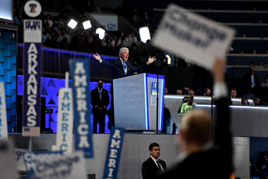Former president Bill Clinton talked about his courtship of Democratic nominee Hillary Clinton in his address at the Democratic National Convention in Philadelphia on Tuesday. Photo: Jabin Botsford, The Washington Post