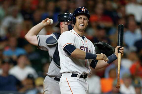 The Astros' Preston Tucker shows his frustration while striking out in the seventh inning Tuesday night.