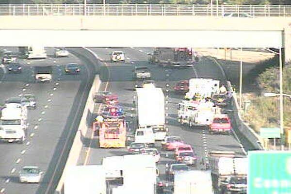 Scene of crash on I-95 south in Norwalk, Wednesday, July 27, 2016