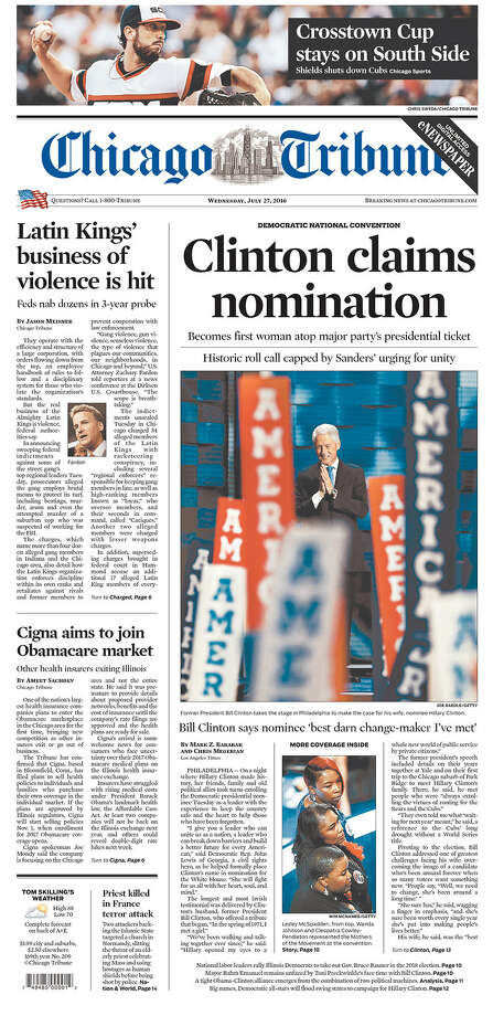 Newspaper front pages on July 27, 2016--the day after Hillary Clinton became the first woman to be the nominee of a major party for president. Photo: Courtesy/Newseum.org