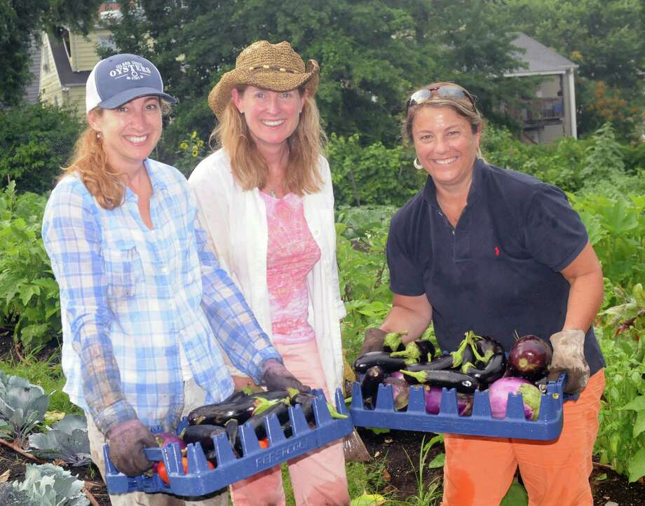 Shana Hurkala, Tara Dolan and Nancy Blizzard Whitel work at Fairgate Farm in Stamford, CT, on Monday, July 25, 2016, as part of the 30th anniversary celebration for Wings Unlimited, a meeting planning company in Darien. Photo: Contributed Photo / Contributed Photo / Darien News