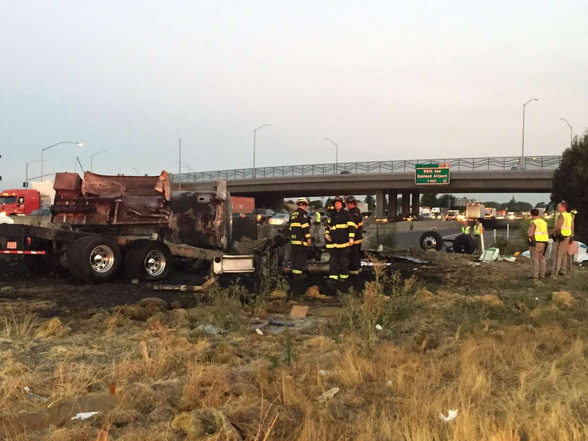 A tanker truck on I-880 caught on fire this morning in San Leandro.