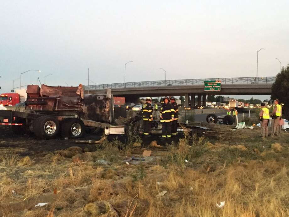 A tanker truck on I-880 caught on fire this morning in San Leandro. Photo: KTVU