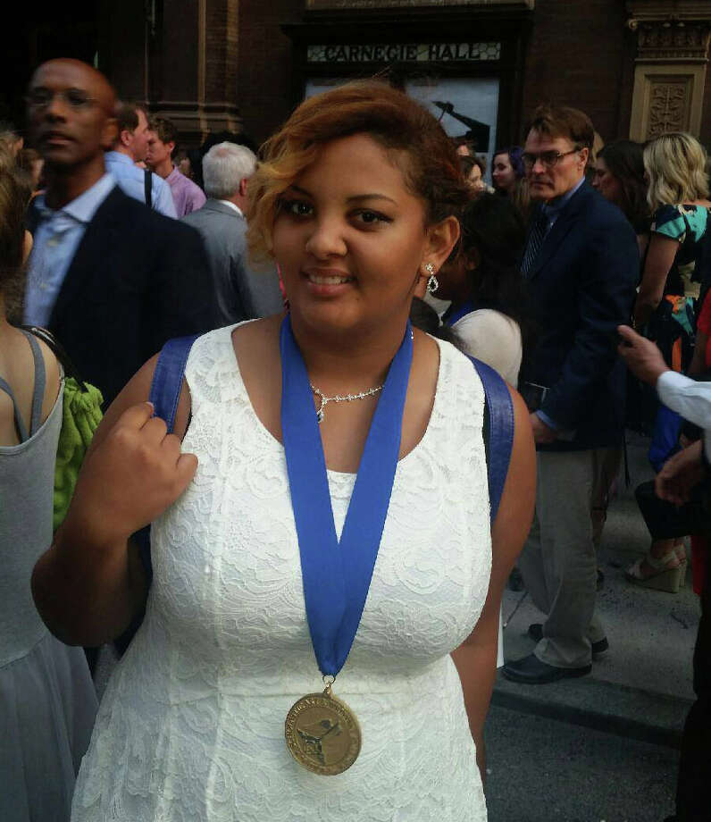 Katy High School 2016 graduate Jasmine Mack wears a gold medal received at the National Scholastic Art & Writing Awards at Carnegie Hall in New York City.