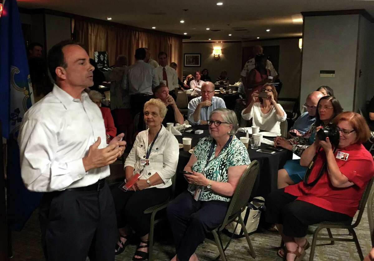 Bridgeport Mayor Joe Ganim speaks at a breakfast for the Connecticut delegation during the Democratic National Convention in Philadelphia, PA on Wednesday, July 27, 2016.