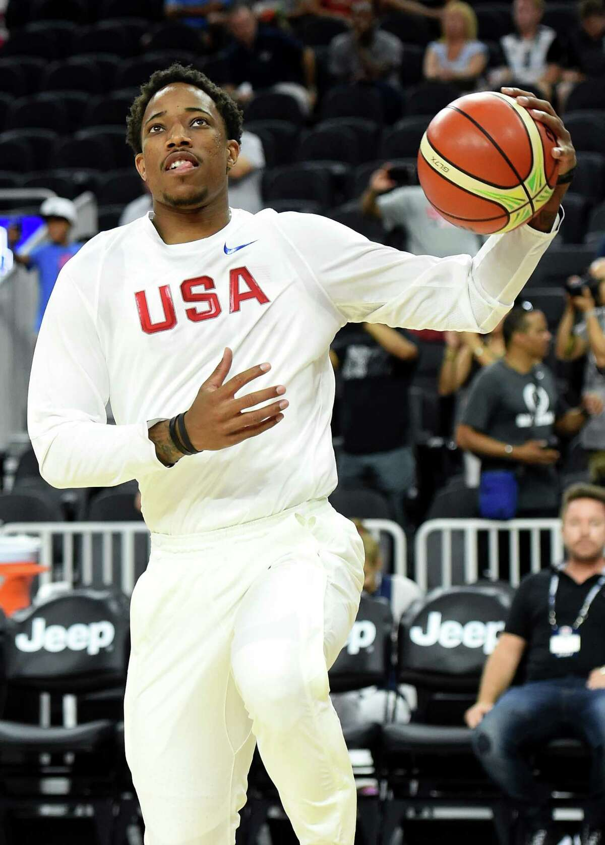 LAS VEGAS, NV - JULY 22: DeMar DeRozan #9 of the United States shoots a layup during warmups before a USA Basketball showcase exhibition game against Argentina at T-Mobile Arena on July 22, 2016 in Las Vegas, Nevada. The United States won 111-74.