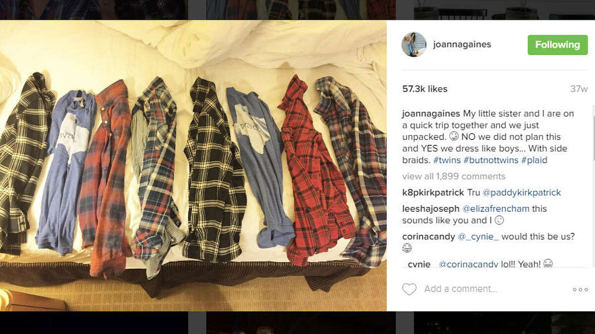 Every day doesn't have to be a runway show. Joanna has sensible fashion sense with lots of T-shirts and plaid button-ups. Photo via Joanna Gaines on Instagram.