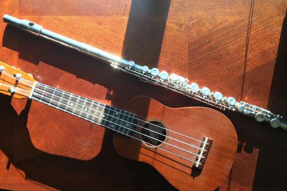 The writer's flute and her husband's uke