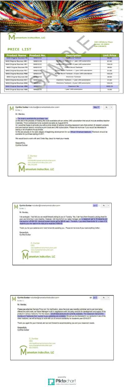 """Emails showing the price list for the book """"Mexican American Heritage"""" sent by Cynthia Dunbar, CEO of Momentum Instruction, to teacher Lupe Mendez. The CEO states that the book is available immediatelyin two packages while other educational materials will be ready by August. Dunbar also mentions an African American history book."""