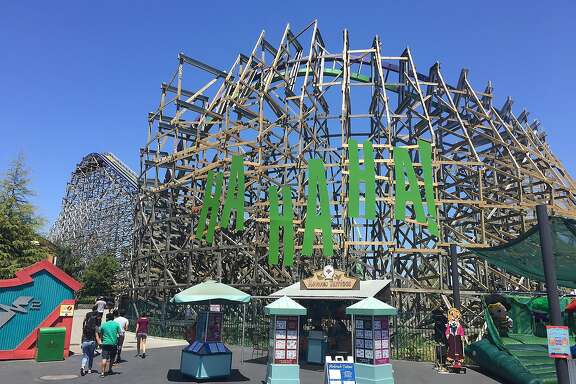 The exterior of The Joker roller coaster at Six Flags Discovery Kingdom in Vallejo.