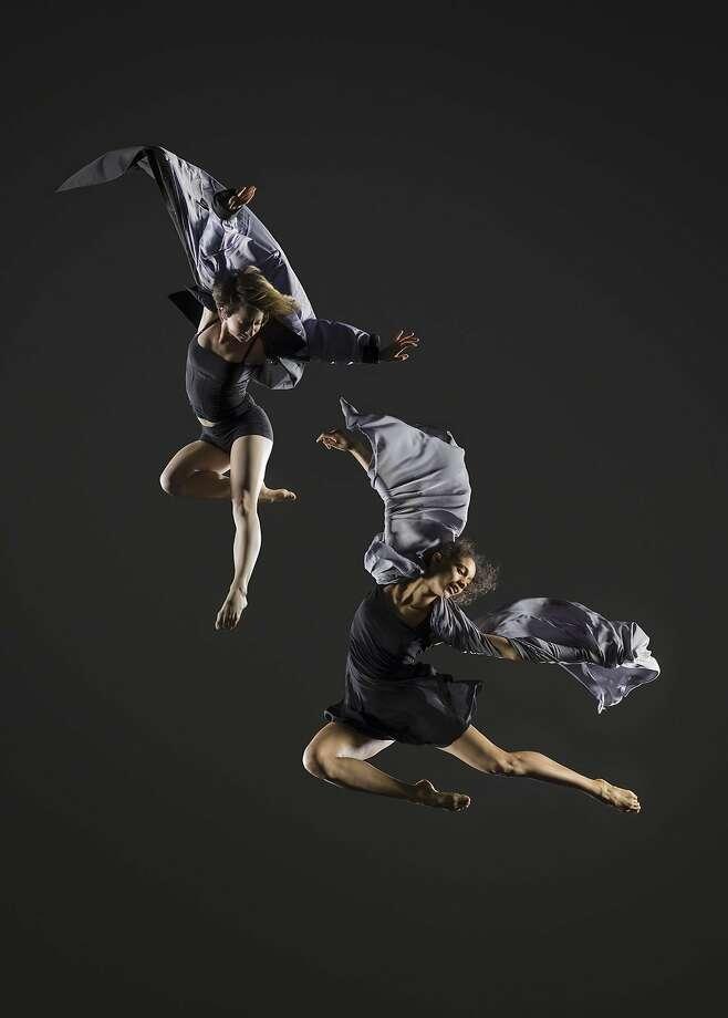 "Vivian Aragon and Alison Adnet in ""Speak, Angels."" Arms reach, legs jut wth exuberance. Photo: RJ Muna"