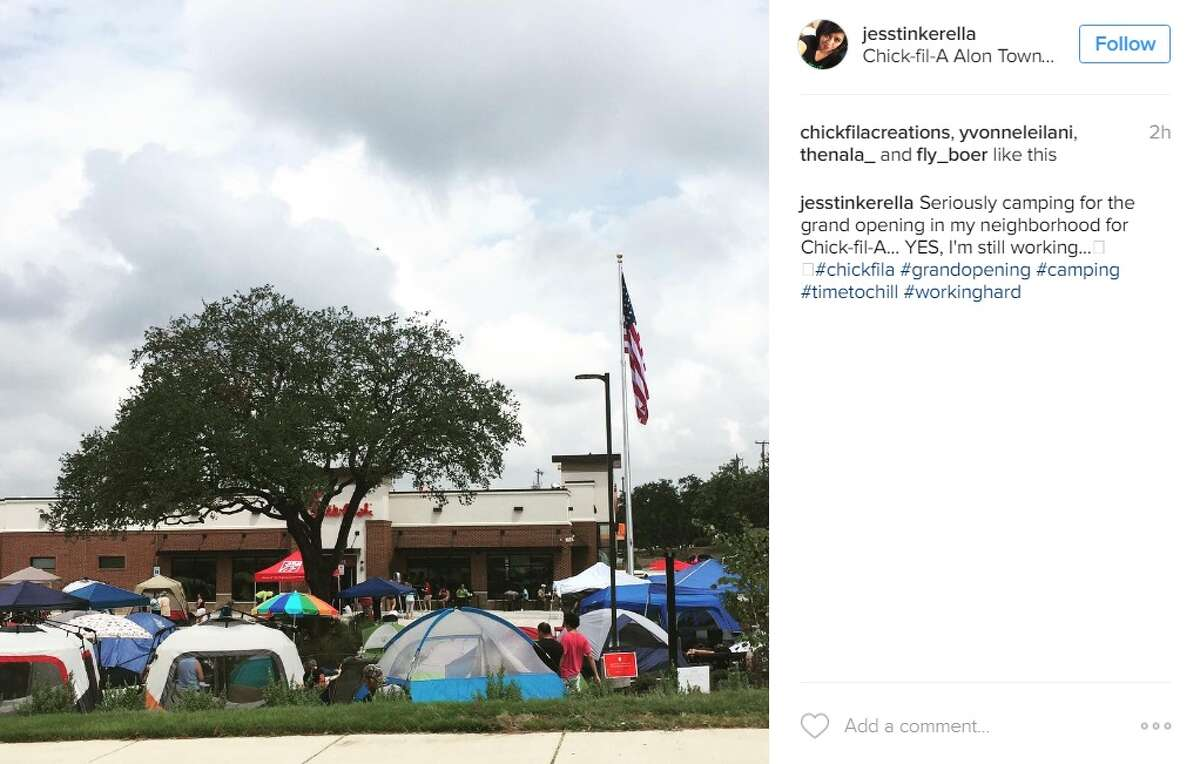 """""""Seriously camping for the grand opening in my neighborhood for Chick-fil-A... YES, I'm still working,"""" @jesstinkerella."""