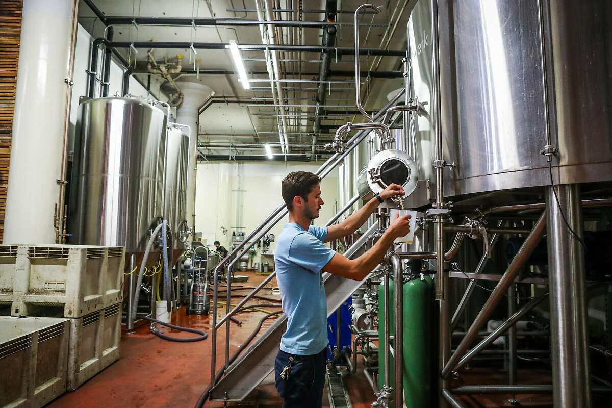 Lead brewer Seth Wile takes a sample of beer while working at Magnolia Brewing Company, in San Francisco, California, on Wednesday, July 27, 2016.