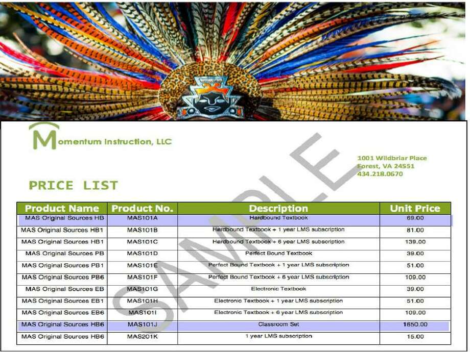 """Price list for """"Mexican American Heritage"""" sent by Cynthia Dunbar, CEO of Momentum Instrustion, to Houstonian Teacher Lupe Mendez."""
