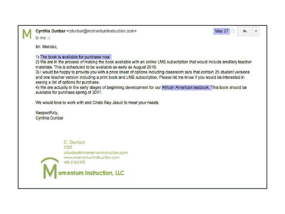 Momentum Instruction is planning a book on African American history, says its CEO in an email.